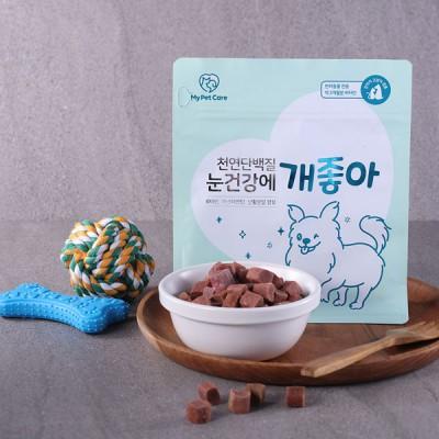[마이펫케어_반려동물 건강식품] 천연단백질 루테인 츄어블 큐브 눈건강에 개좋아 120gx1봉 루테인 브로콜리 분말 오리안심 함유