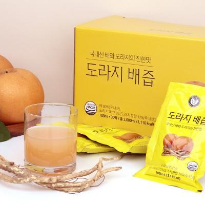 김재식헬스푸드 3년근 도라지 품은 도라지배즙 100ml 30팩 (2박스)