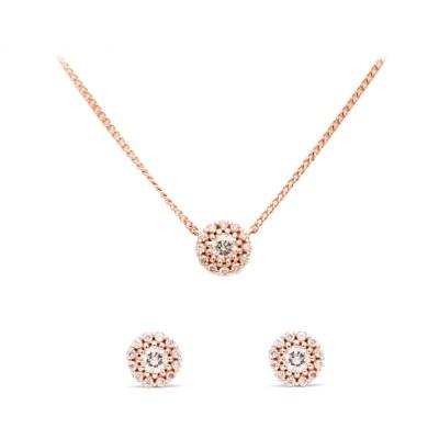 [에비뉴다이아몬드] 14K 다이아몬드 귀걸이 목걸이 세트
