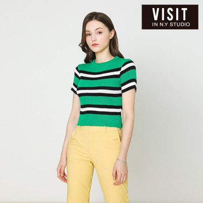 [VISIT IN NEWYORK]  컬러 스트라이프 크롭 니트  VX4SKE1